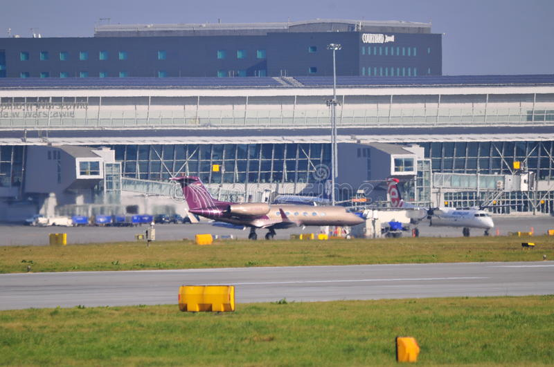 View of Okecie Airport in Warsaw stock photography