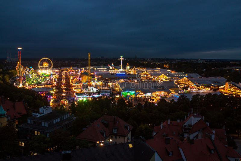 View of Oktoberfest in Munich. Munich, Germany: Celebration at the Oktoberfest Oktoberfest is a 16-day festival celebrating beer held annually in Munich, Bavaria stock photography