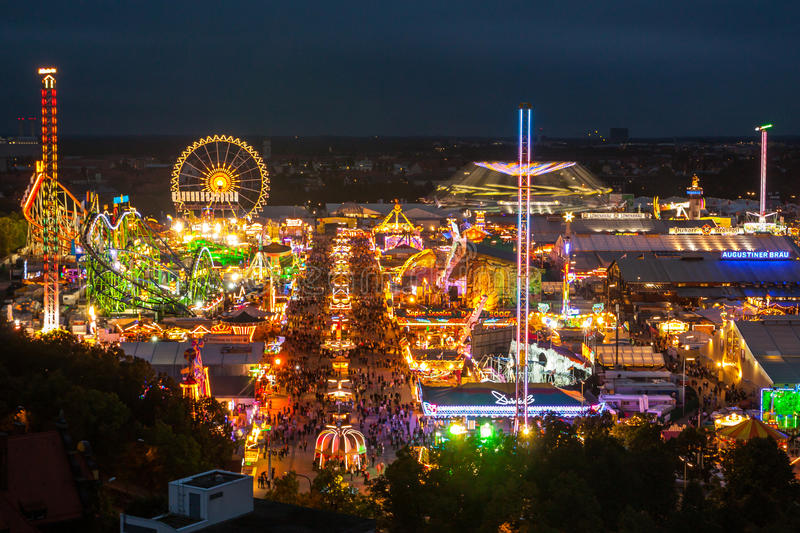 View of the Oktoberfest in Munich at night. View of the Oktoberfest's area in Munich, at night during the Oktoberfest's Celebrations stock images