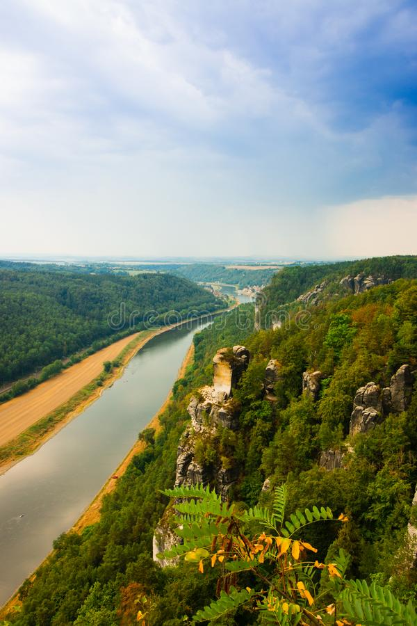 View from old Bastei bridge down on river Elbe in Saxony,Germany royalty free stock image