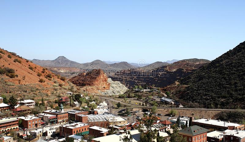Bisbee Arizona view from High Road. This is a view of Old Bisbee, Cochise County, Arizona from High Road.  The view is looking over the downtown area of the stock photos