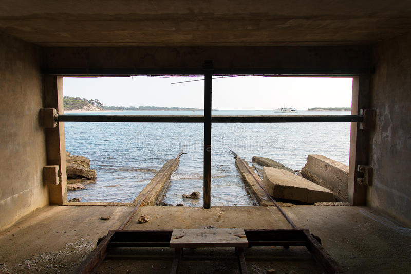 View from old boat house. royalty free stock photography