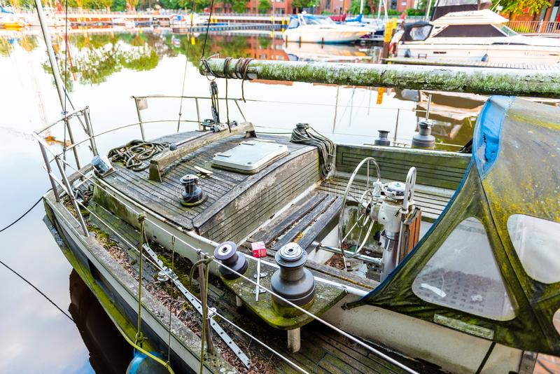 View of the old boat in the port, Oldenburg, Germany. With selective focus.  royalty free stock images