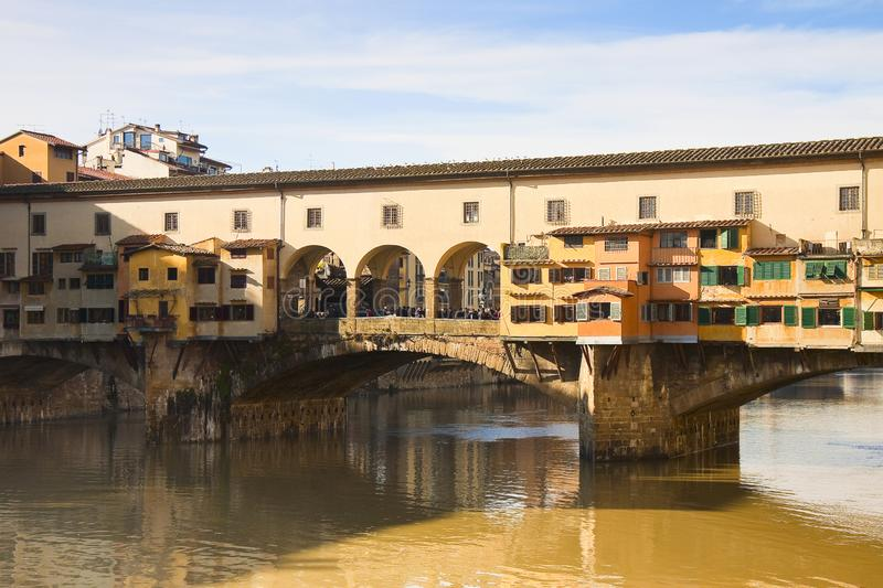 View of the Old Bridge Ponte Vecchio in Florence Tuscany - one of the most famous italian bridges. Note for the Ispector: peoples are not recognizable stock photos