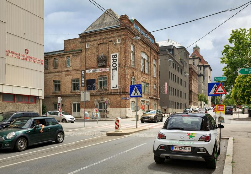 View of the old buildings of Ankerbrot bread factory. District of Favoriten, Vienna, Austria. VIENNA, AUSTRIA - JULY 22, 2018. View of the old buildings of royalty free stock images