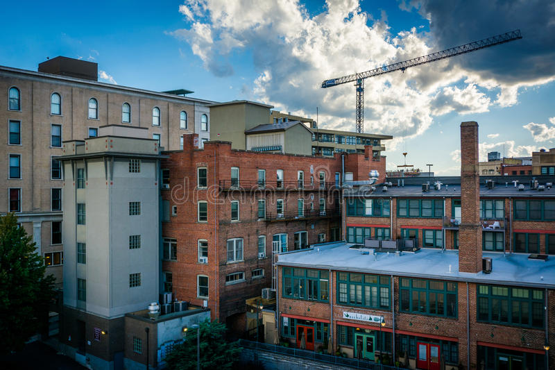 View of old buildings in downtown Asheville, North Carolina. stock image