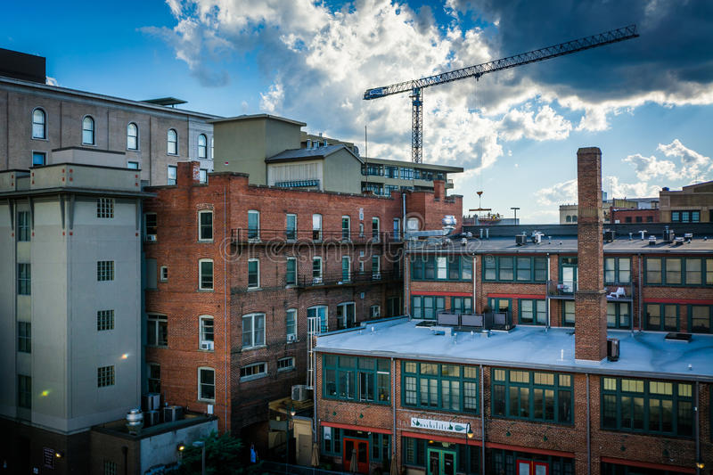 View of old buildings in downtown Asheville, North Carolina. royalty free stock image
