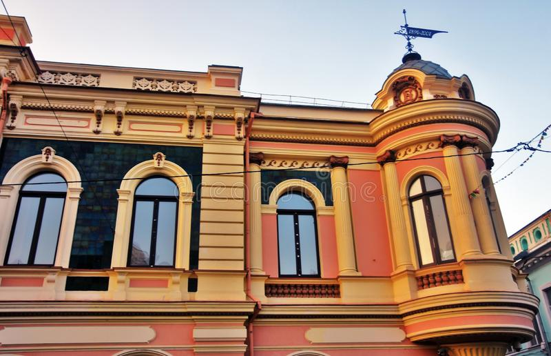 View of old buildings on Rozhdestvenskaya street in Nizhny Novgorod. Color photo. stock photo