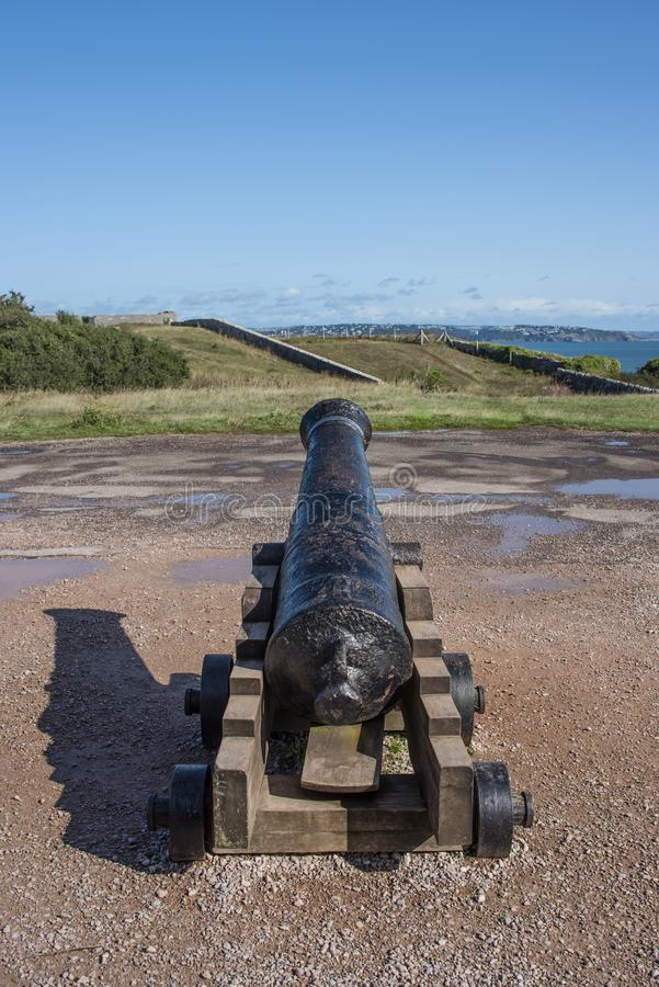 Looking down the barrel of a cannon royalty free stock photography