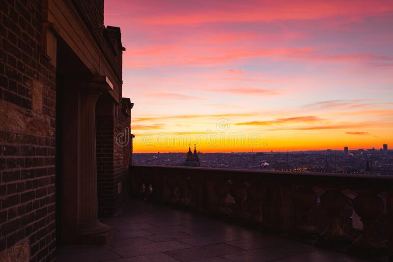 View from the Old Castle Stairs next tu Prague Castle, Prague, Czech Republic. Nowadays, they have become quite popular as the most frequent and scenic way up royalty free stock photography