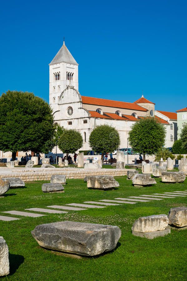 The view of old church and ancient ruins in Zadar, Croatia. stock image