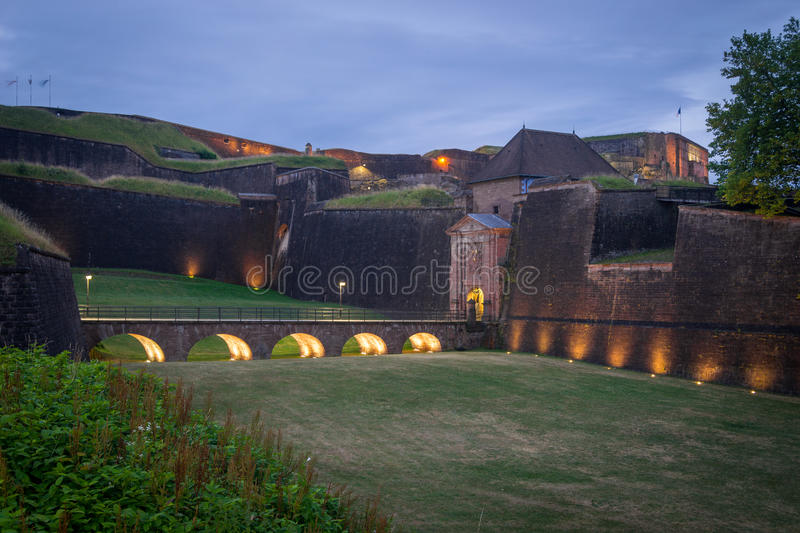 Belfort, France. View of the old citadelle of Belfort, France stock photos