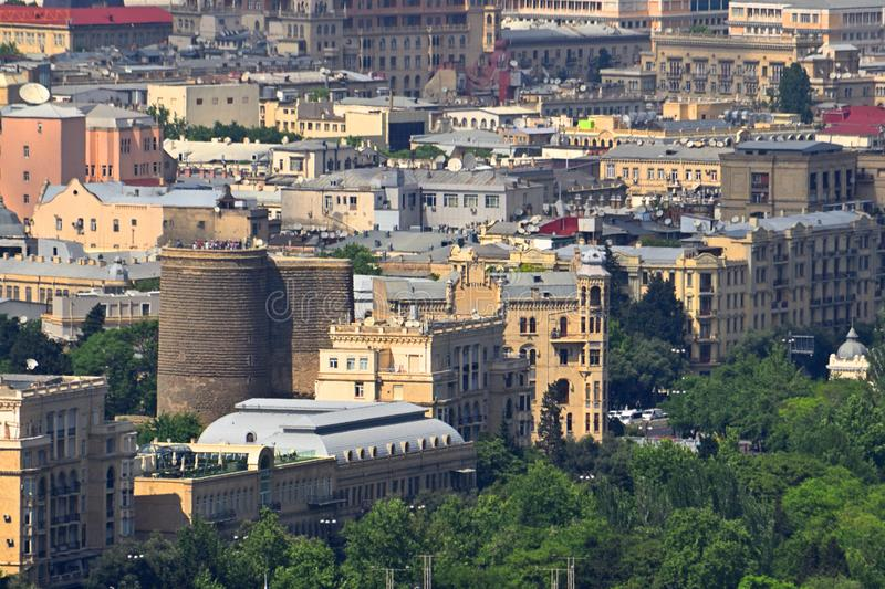 View of the old city of Baku. Maiden`s Tower stock image