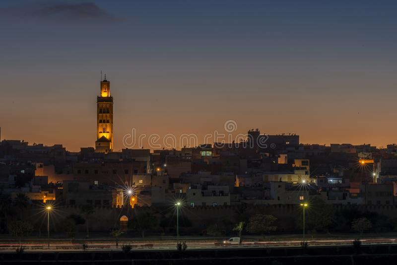View of the old city in Meknes, Morocco. This is a view of the old city center of Meknes in Morocco, taken from a high place in the new part of the city center stock photos