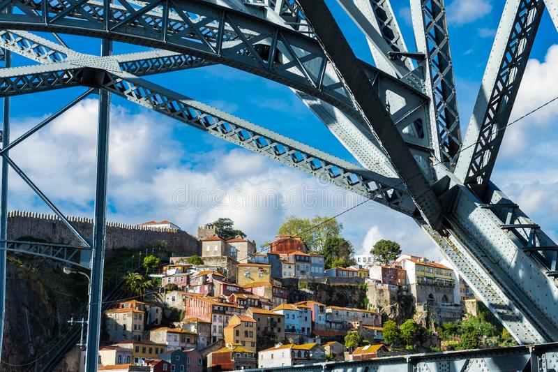 View of the old city center of Porto or Oporto from Luis I bridge. Portugal, dom, architecture, cityscape, douro, river, europe, tourism, history, landmark royalty free stock images