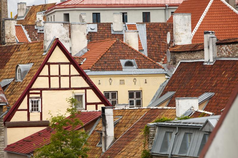 View of Old city`s roofs. Tallinn. Estonia stock photography