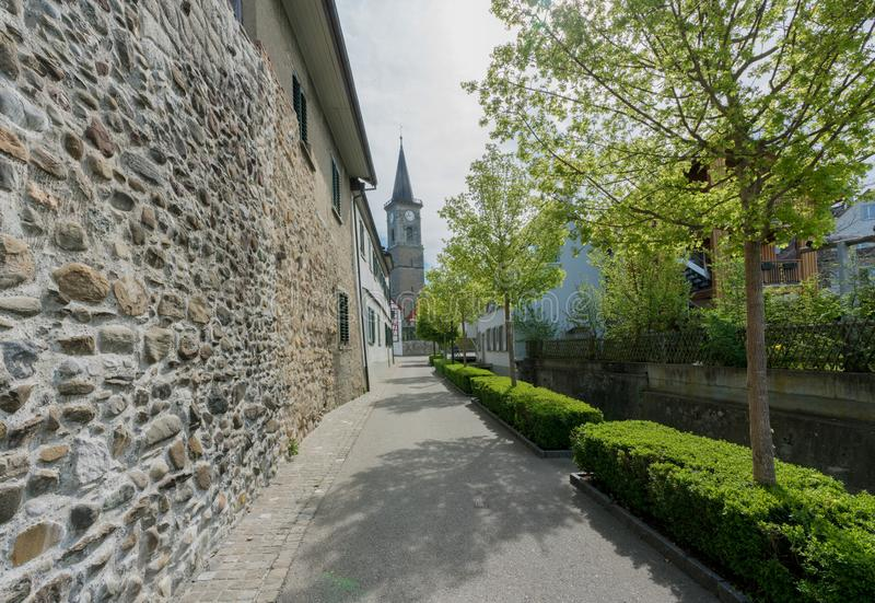 View of the old city wall and church in the Swiss village of Steckborn. On Lake Constance stock image