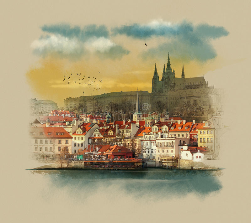 View of the old city with the waterfront is a famous historic bridge that crosses the Vltava river in Prague, Czech Republic. stock photos