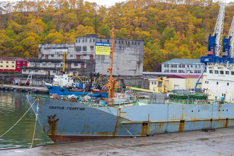 View of old, destroyed ship moored in the port, Petropavlovsk-Kamchatsky, Russia. royalty free stock images