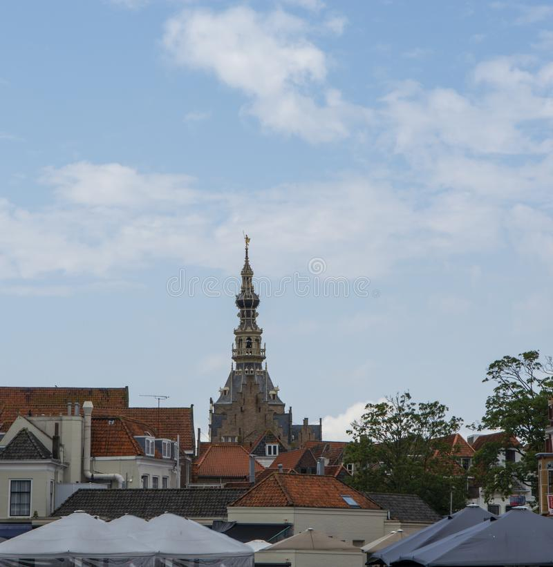 View on old Dutch houses and church tower in Zierikzee, historical town in Zeeland, Netherlands royalty free stock photography