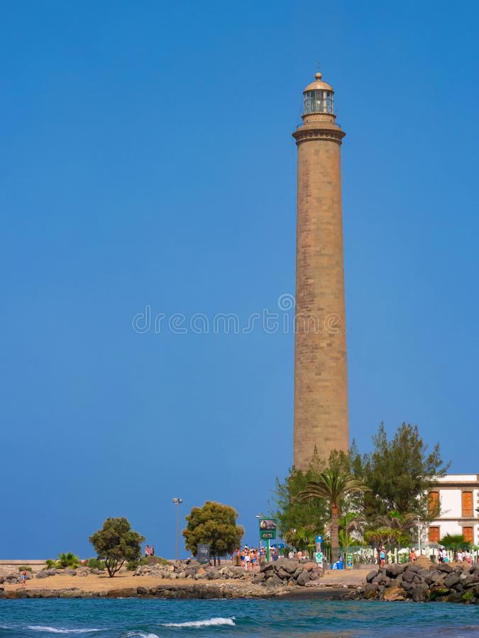 View on the old Lighthouse of Maspalomas. Maspalomas, Grand Canary, Spain - July 18 2017. royalty free stock photo
