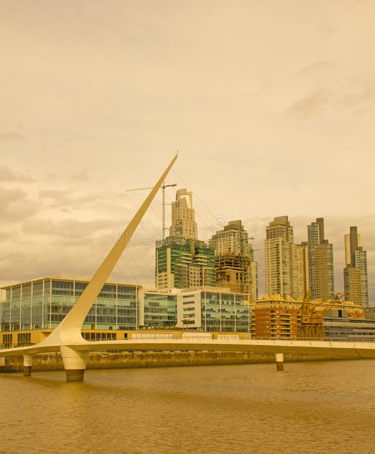 Dramatic sunset in Puerto Madero, Buenos Aires, Argentina, stock image