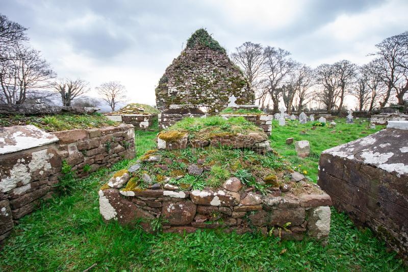 Irish cemetery ruins in countryside of Ireland stock images