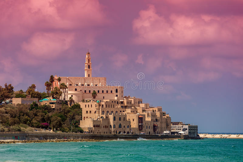 View of Old Jaffa. View of old houses, St Peter`s belfry and Mediterranean sea in Jaffa, Israel royalty free stock image
