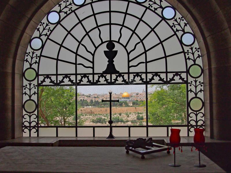 View of Old Jerusalem From Church of All nations, Gethsemane, Jerusalem, Israel. A view of Old Jerusalem, including the Dome of the Rock, Temple Mount, through a stock images