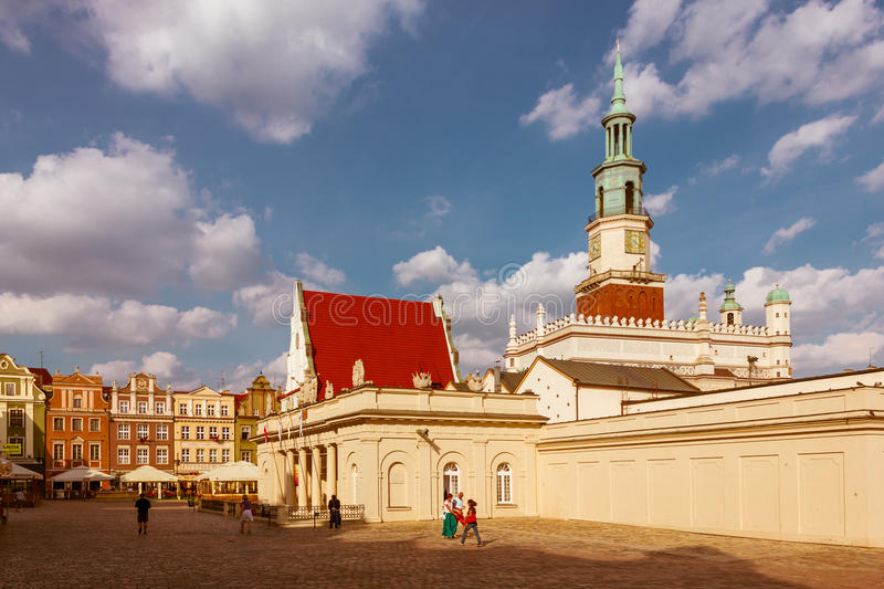 Old market square and the Town Hall tower. Poznan. Poland. View of the Old market square with the Weigh house or Weighing house (Waga miejska) and the Town Hall stock photo