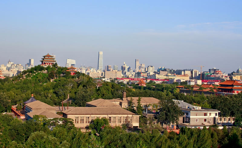 View of the old and the modern city of Beijing stock photos