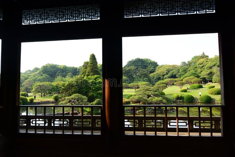 View from the old palace or Kyu Goryo Tei. Shinjuku Gyoen national garden. Tokyo. Japan. Shinjuku Gyoen is a large park and garden in Shinjuku and Shibuya, Tokyo stock photo