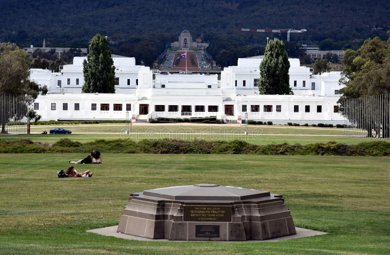 The view of Old Parliament House the National War Memorial and Mt Ainslie stock images