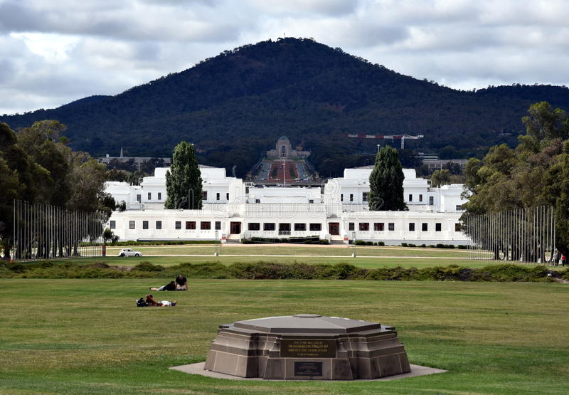 The view of Old Parliament House the National War Memorial and Mt Ainslie stock photography