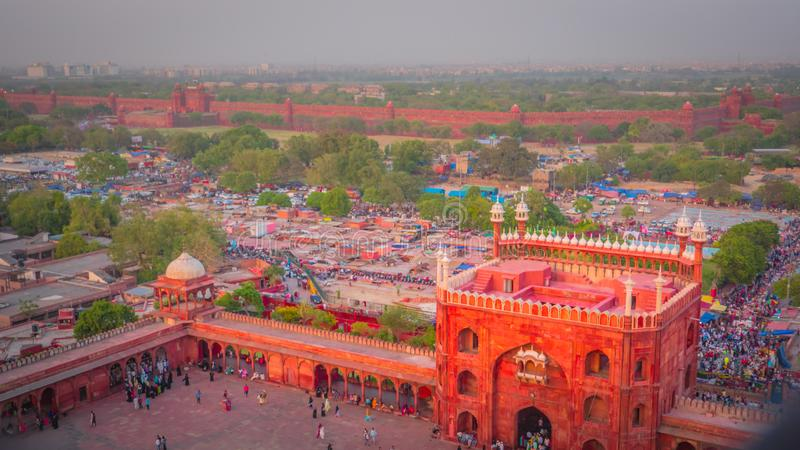 Chandni Chowk and Red Fort aerial view from Jama Masjid mosque in Old Delhi, India royalty free stock image