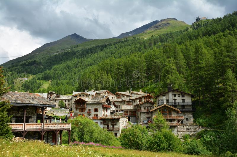 View of old part of Val d`Isere, ski resort in France. View of old part of Val d`Isere, ski resort, and commune of the Tarentaise Valley, in the Savoie stock photography