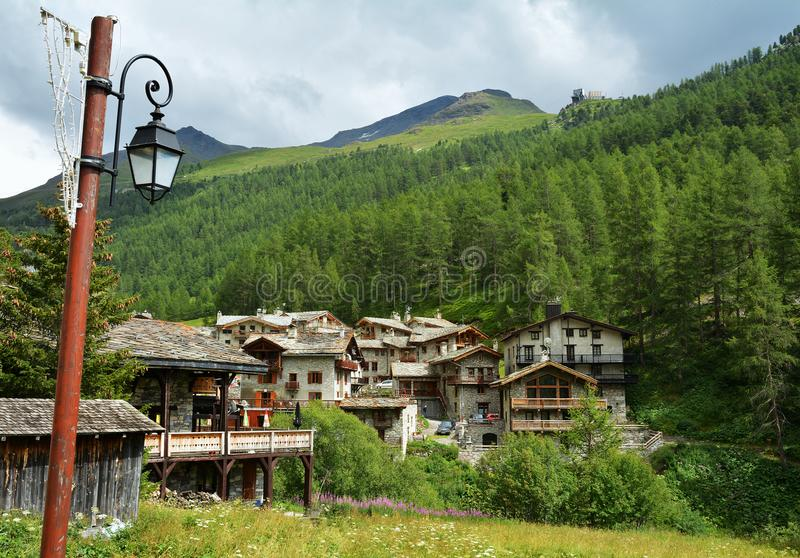 View of old part of Val d`Isere, ski resort in France. View of old part of Val d`Isere, ski resort, and commune of the Tarentaise Valley, in the Savoie stock photos