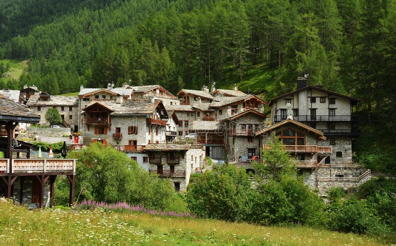 View of old part of Val d`Isere, ski resort in France. View of old part of Val d`Isere, ski resort, and commune of the Tarentaise Valley, in the Savoie stock image