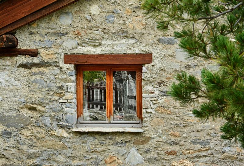 Close up house in Val d`Isere, ski resort in France. View of old part of Val d`Isere, ski resort, and commune of the Tarentaise Valley, in the Savoie department stock image