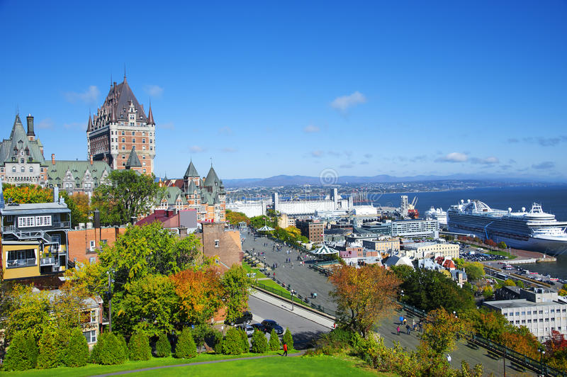 View of old Quebec and the Chateau Frontenac, Quebec,Canada royalty free stock photo