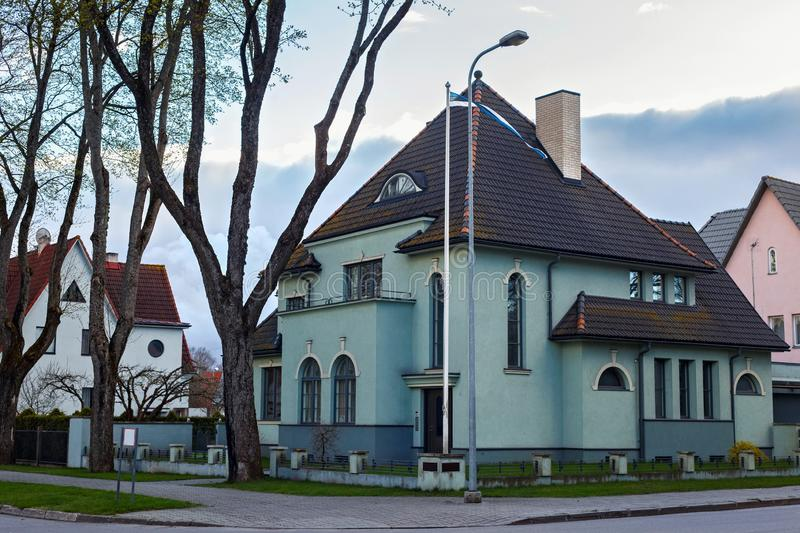 View of the old residential buildings. In historical center of Parnu, Estonia royalty free stock image