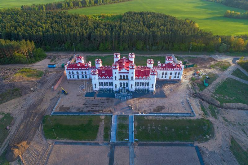 View of the old restored Puslowski castle-palace. On an April evening aerial photography. Kossovo, Belarus stock photography