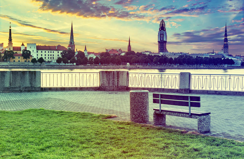 View on old Riga city with renovating of Dome church, Latvia stock photo