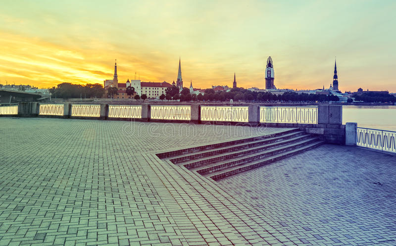View on old Riga city with renovation of Dome church, Latvia royalty free stock image