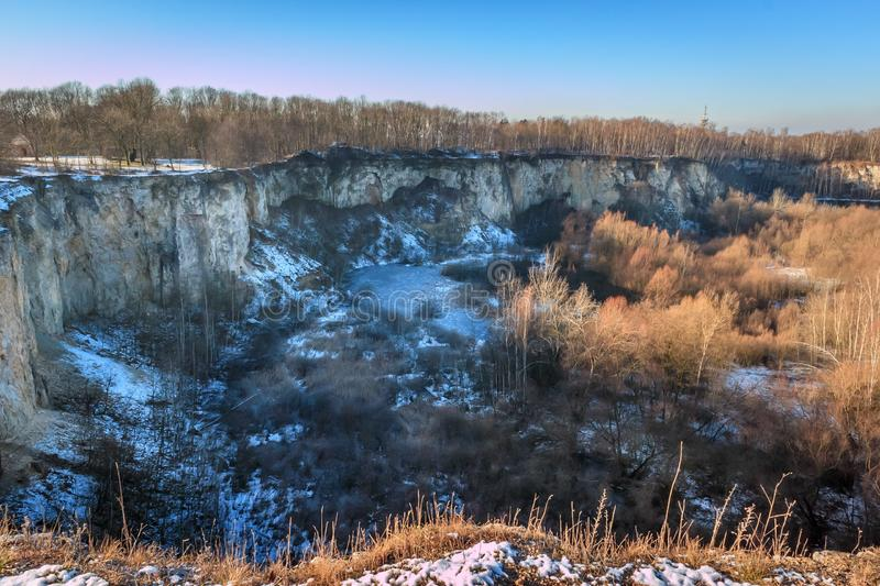 Old stone pit on Bonarka in Cracow. View on the old stone pit on the Bonarka in Cracow royalty free stock photo