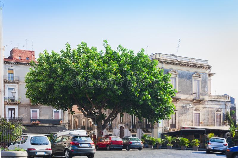 View of old street, facades of ancient buildings in seafront of Ortygia Ortigia Island, Syracuse, Sicily, Italy.  royalty free stock image