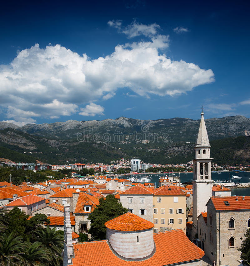 View on old town of Budva, Montenegro royalty free stock photos