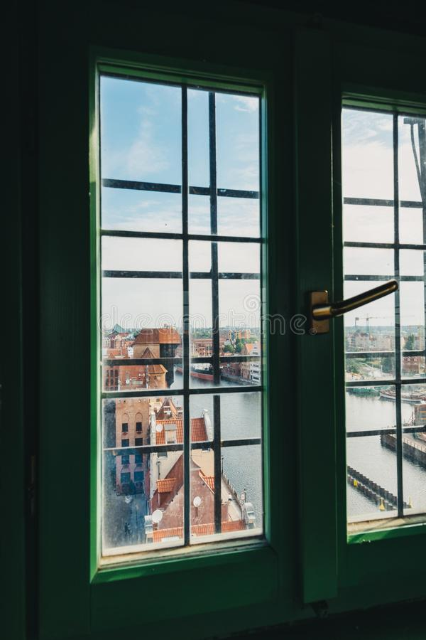 View on Old Town building in Gdansk through the window stock photo