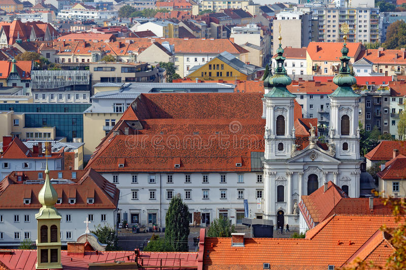 View of the old town center of Graz from the staircase of Schlossberg Hill. Graz, Austria. royalty free stock image