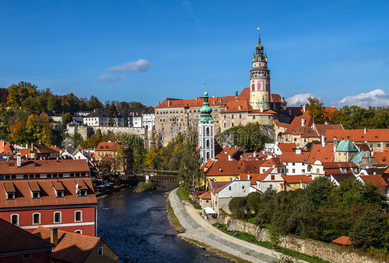 View of old Town of Cesky Krumlov. stock photo